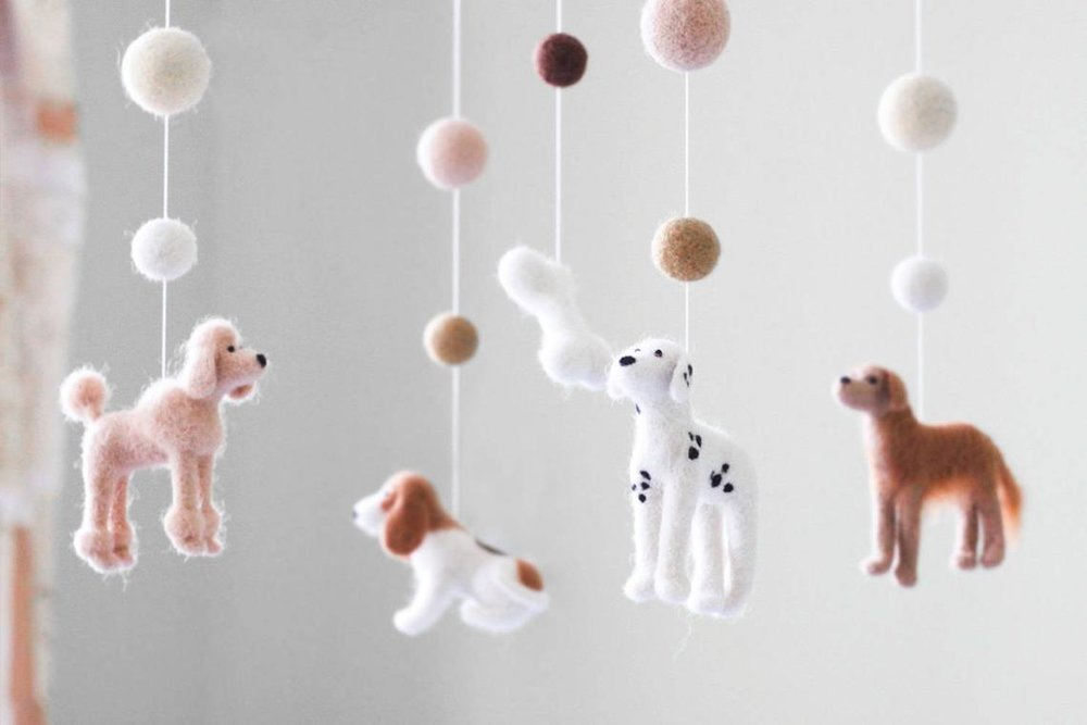 Felted Dogs Baby Mobile By Woolen Tenderness