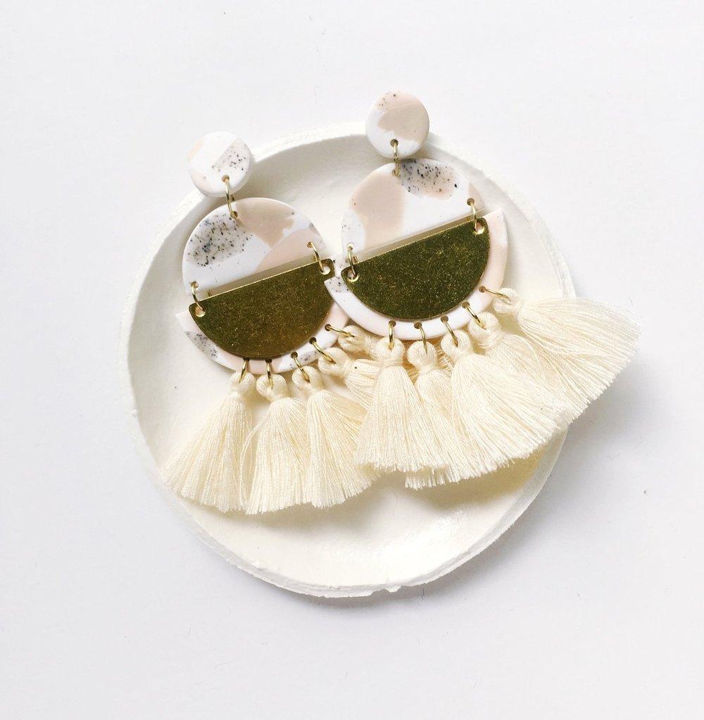 MONA in Sand Statement Dangly Tassel Earrings By TidyClutterings