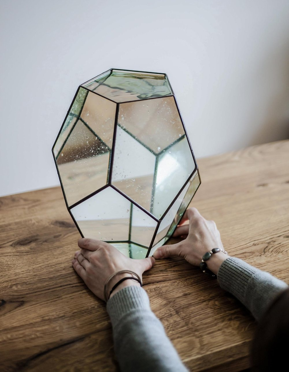 Large Geometric Dodecahedron Glass Vase By Stereometric Design