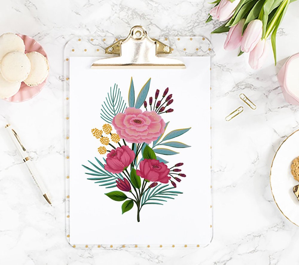 Flowers Wall Art Print By Dot and Jot