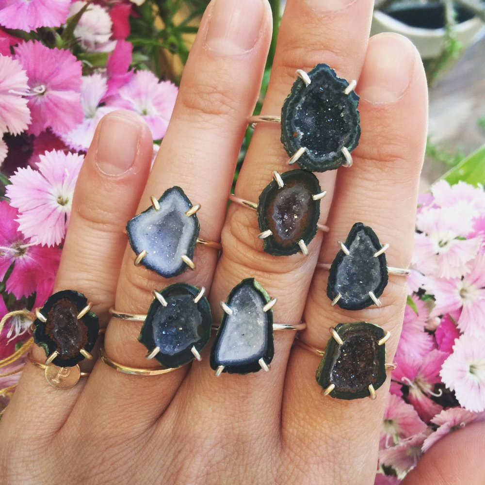 Small Geode Druzy Rings By PS Jewelry Shop