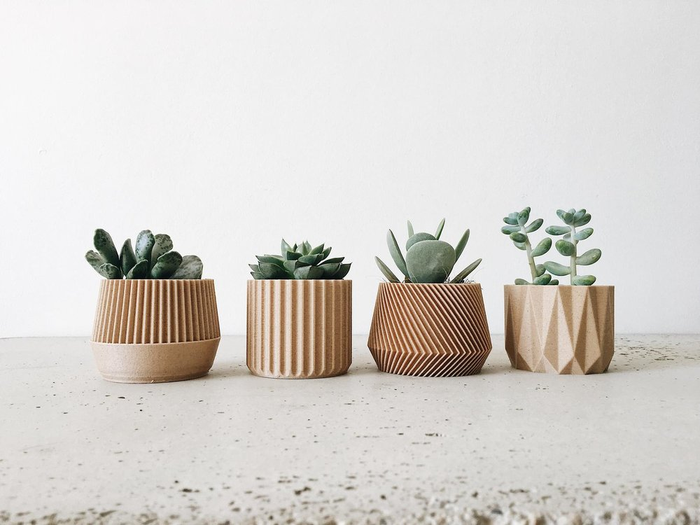 Set of 4 Small Geometric Woden Planters By Minimum Design