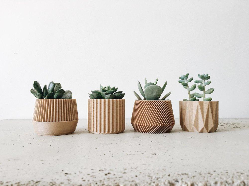 Set of 4 Small Geometric Woden Planters By Minimum Design