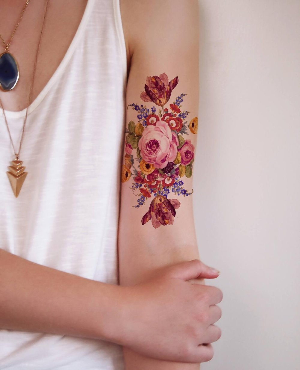 Vintage Floral Rose Temporary Tattoo By Tattoorary