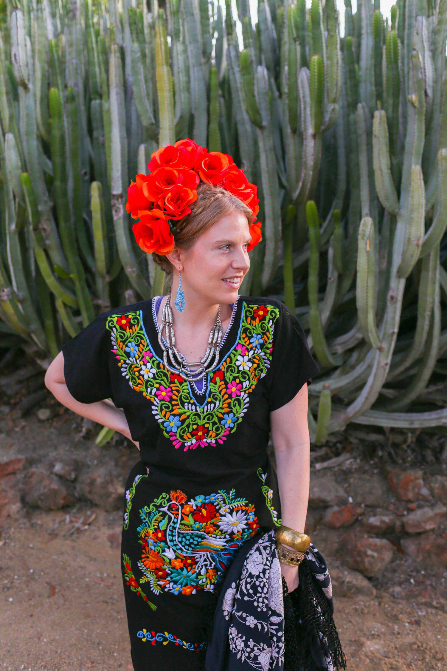 Mexican Floral Embroidered Dress Mexican Artisanal Dress Frida Kahlo Bridesmaid Dress. Mexican Traditional Dress Lace Sleeve Dress