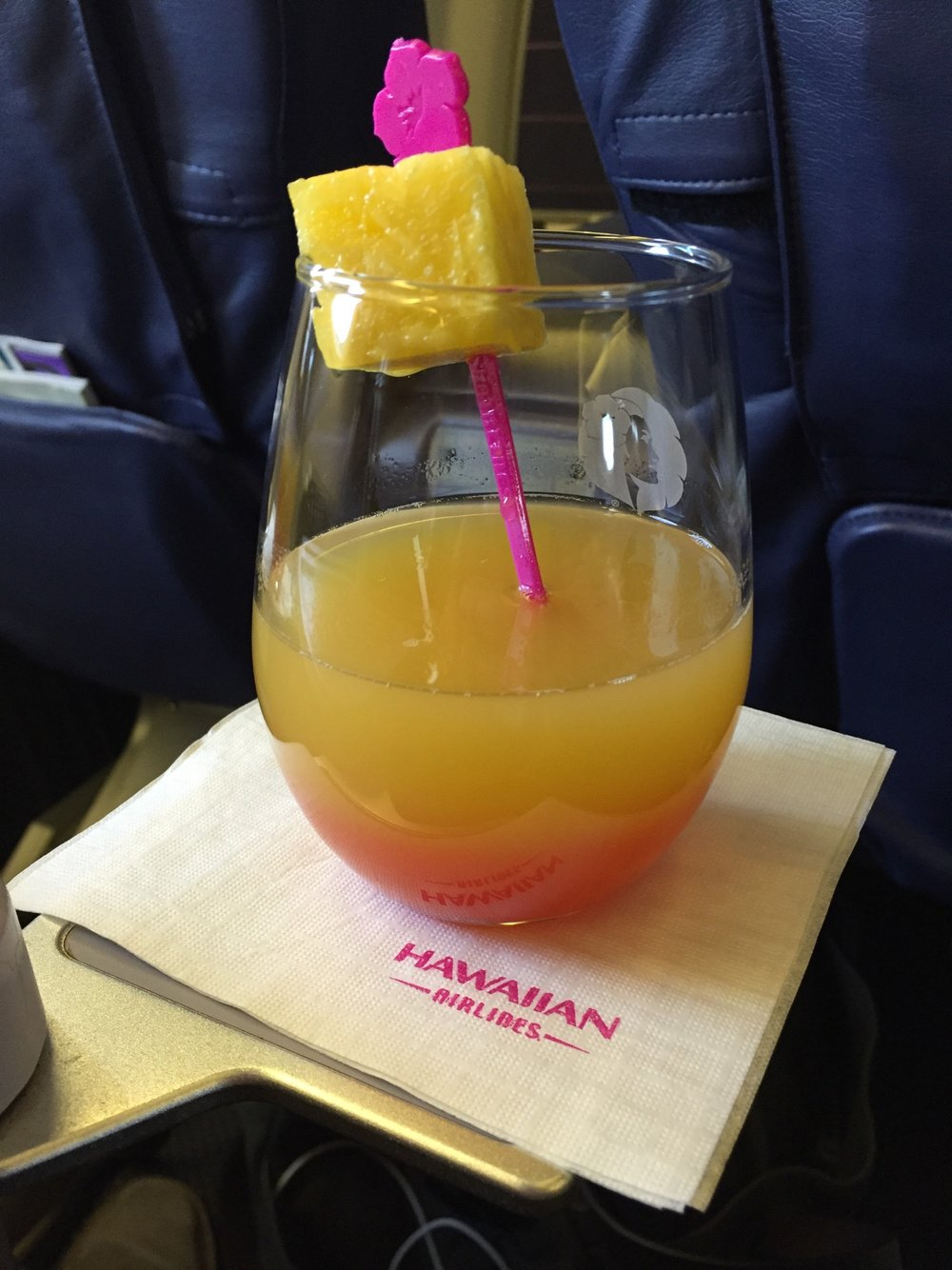 Welcome cocktail from Hawaiian Airlines