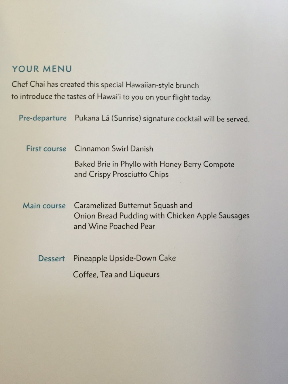 Hawaiian Airlines first class bunch menu on June 5, 2016 from Sacramento to Honolulu