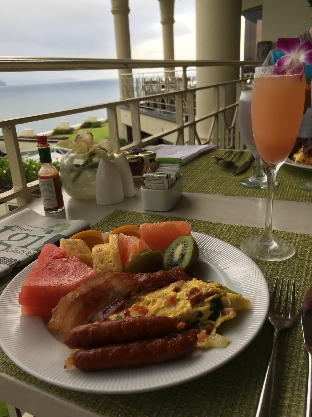 Breakfast from the buffet at Makana Terrace. Paired with a guava mimosa!