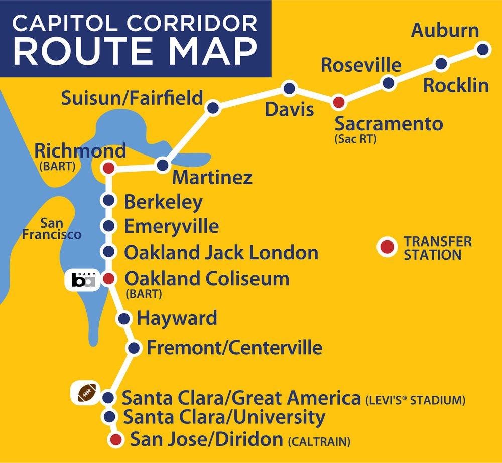 Map borrowed from  Capitol Corridor's website.