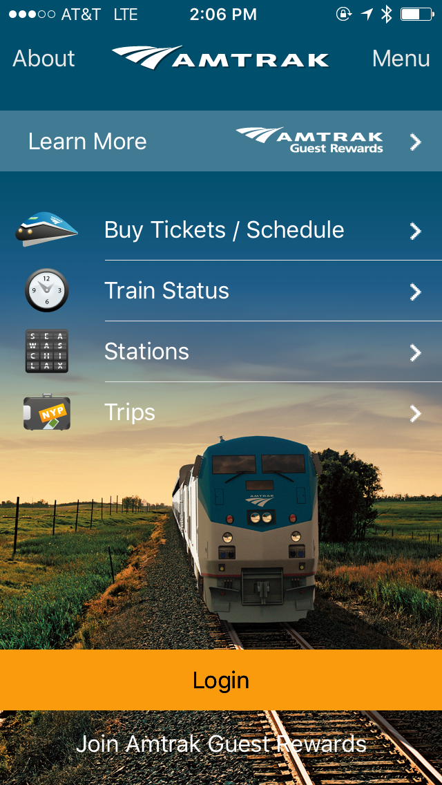 The Amtrak App looks like this when it's open.