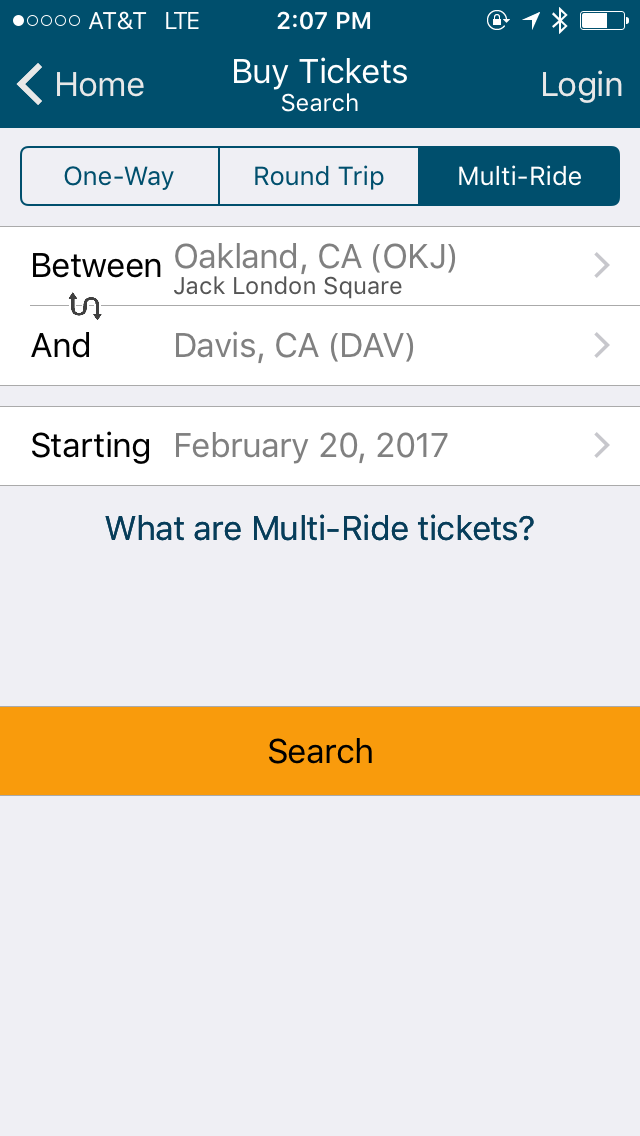 It's easy to search for one way, round trip, and multi-ride tickets on the app.