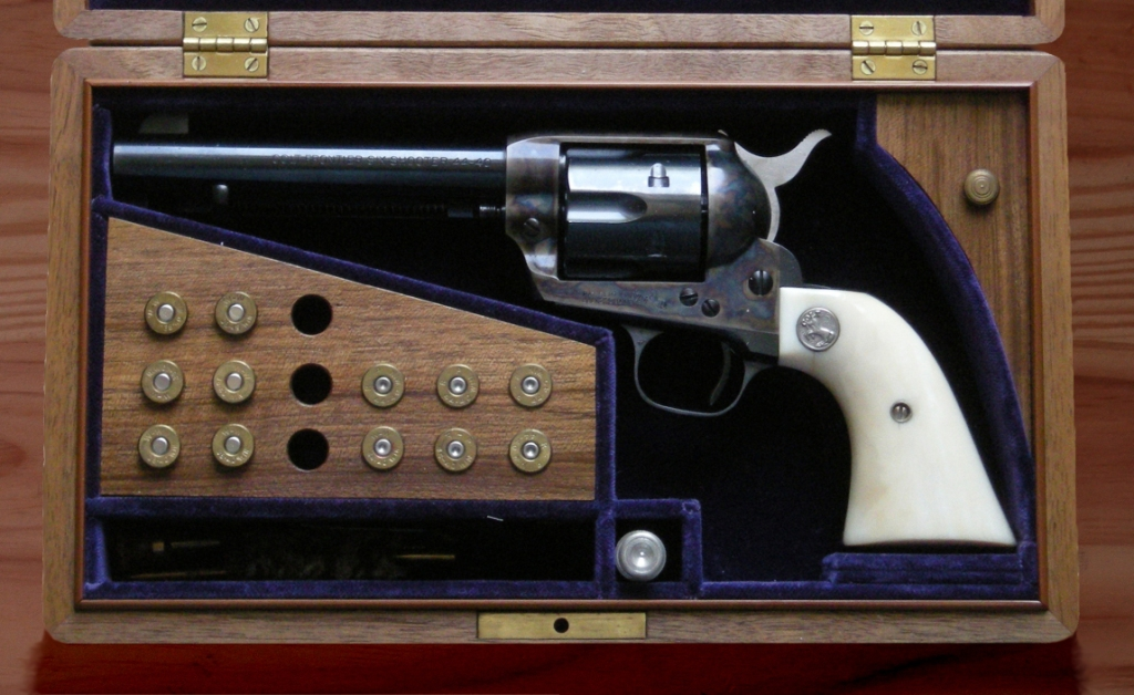 Colt Peacemaker, showing case-hardening colors on the frame  .   Image  courtesy of  Hmaag  (own work) on Wikipedia Commons, licensed under  CC BY-SA 3.0  and  GFDL .