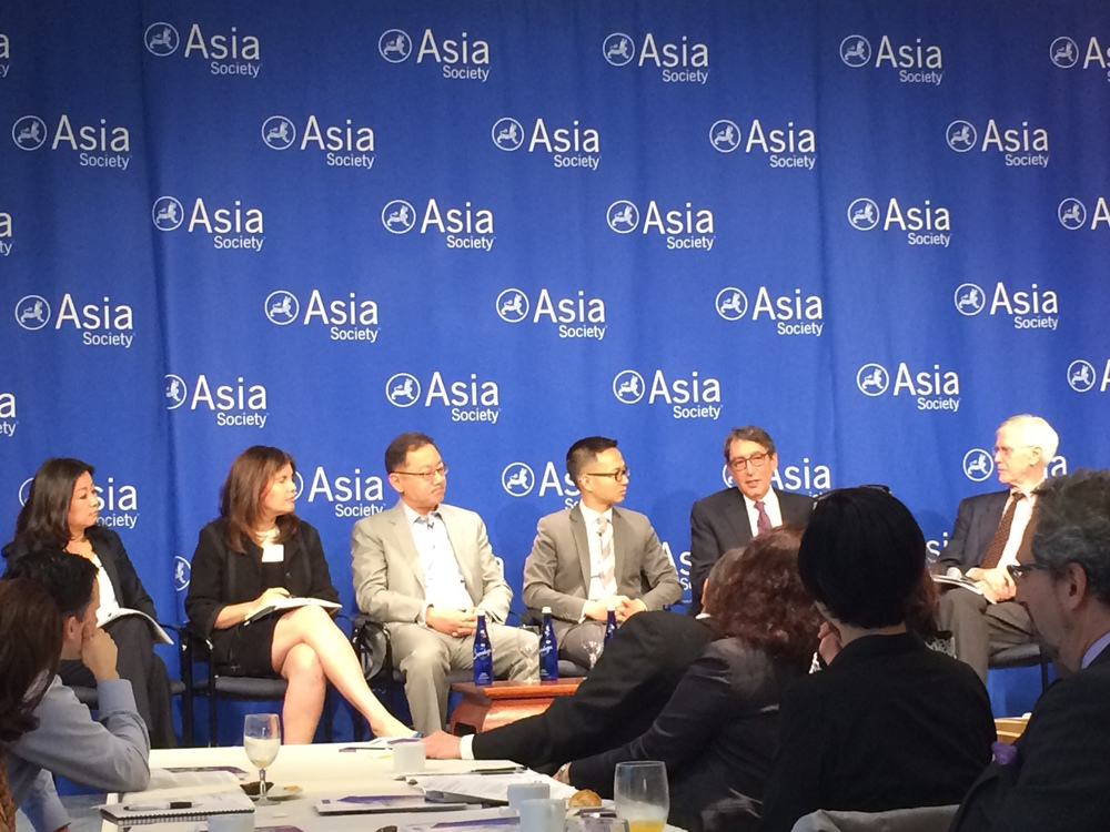 Panelists discussing 'Breaking Ground: Chinese Investment in U.S. Real Estate' at Asia Society's Manhattan office. Miao Li
