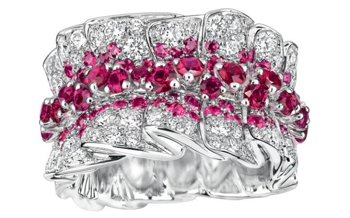 Archi Dior Bar en Corolle ring in white gold, diamonds and rubies by Dior Joaillerie