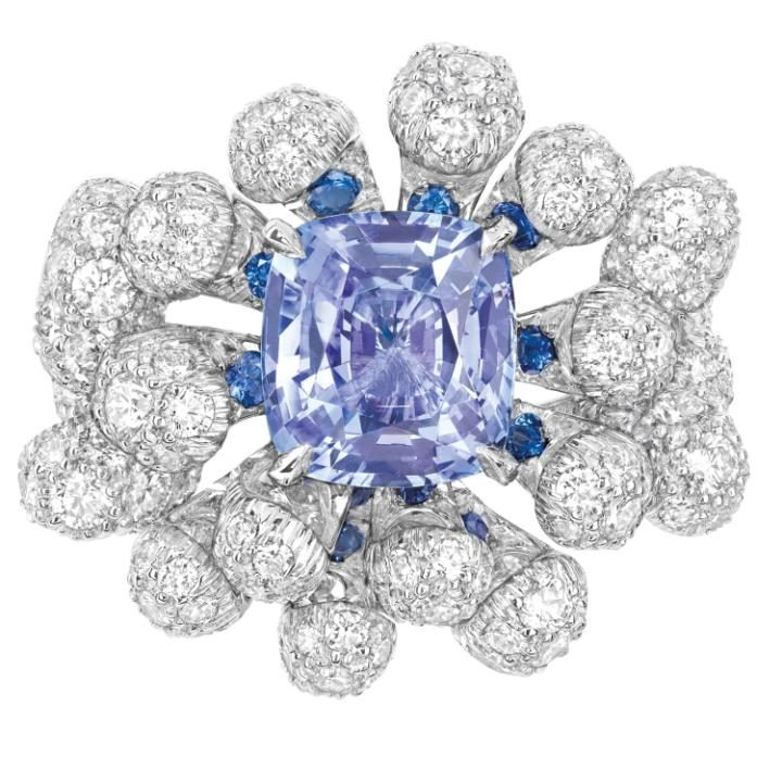 Cygne ring in white gold, diamonds and sapphires by Dior Joaillerie