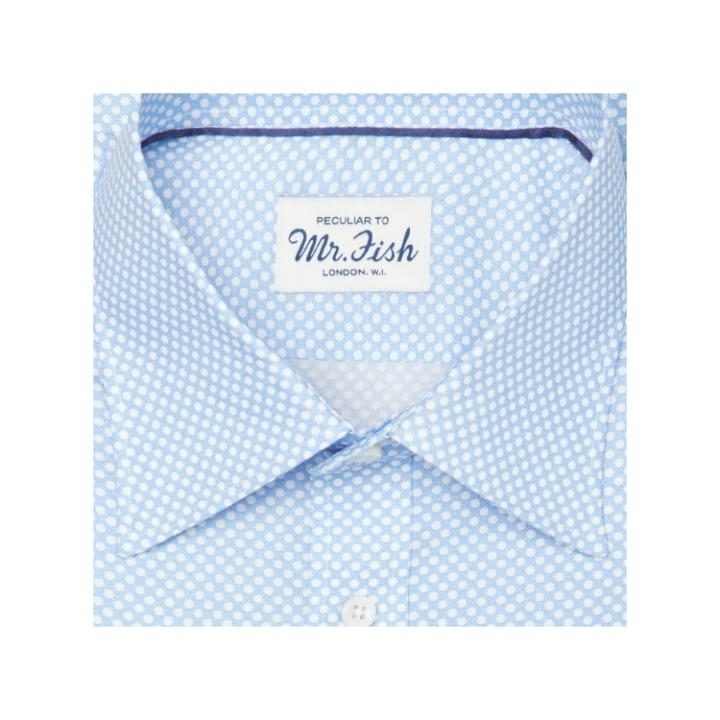 Mr Fish blue and white reverse polka dot shirt, £195