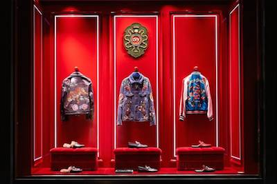 Window display celebrating Gucci DIY