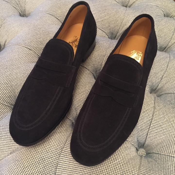 The elegant black suede Ferragamo moccasins