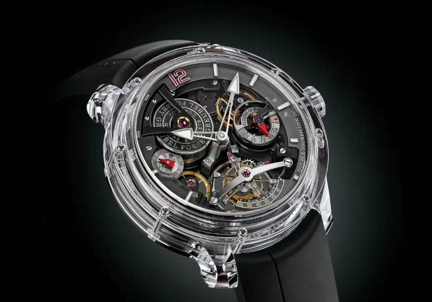 The Double Tourbillon 30° Technique in an all-sapphire case. Source: Greubel Forsey