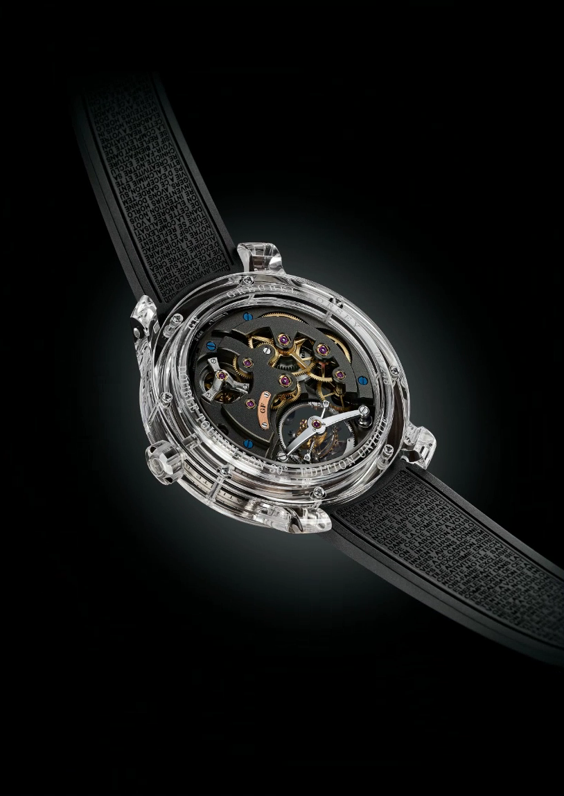 The reverse of the Double Tourbillon 30° Technique in all-sapphire. Source: Greubel Forsey