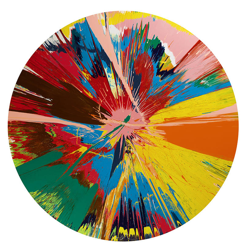 Damien Hirst; Beautiful, Shattering, Slashing, Violent, Pinky, Hacking, Sphincter Painting, 1995 Household gloss on canvas £250,000-350,000