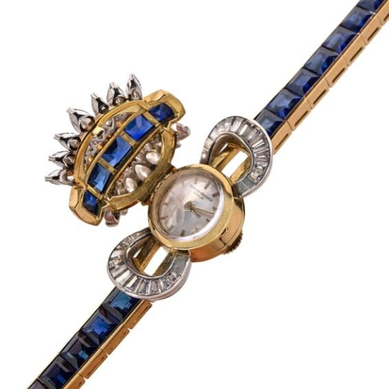 A rare and elegant ladies' wristwatch set with sapphires and diamonds by Vacheron Constantin; Credit: Artcurial