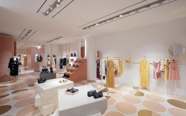 REDValentino's store in Rome. The designer worked with creative director Pierpaolo Piccioli on the aesthetic