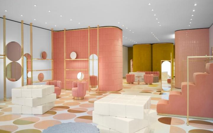 "REDValentino London; ""a kaleidoscope of pink and white terrazzo"""