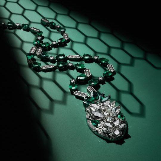 Bulgari Serpenti High Jewellery necklace with diamond and emerald Credit: Guido Mocafico