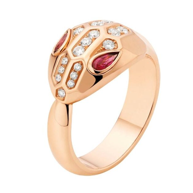 Bulgari Serpenti pink gold ring with rubellite eyes and pavé-set head