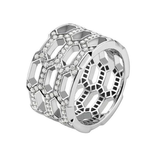 Bulgari Serpenti white gold band ring with full pavé-set diamonds