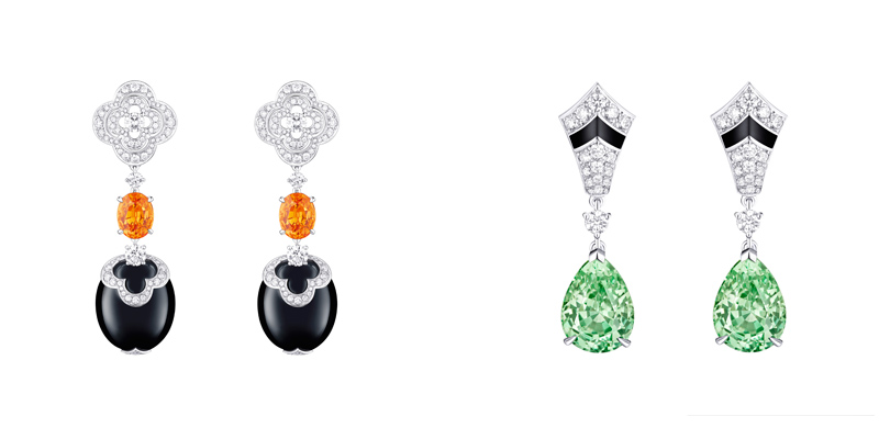 Louis Vuitton Blossom High Jewelry 2016: Earrings with Mandarin Garnet and Earrings with Merelani Tsavorite