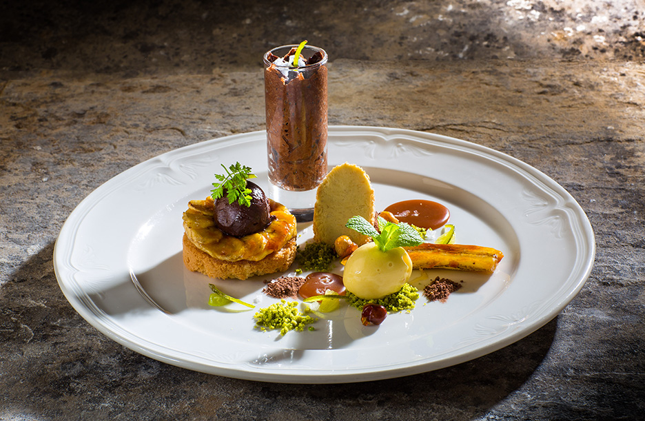 Chocolate & Olive Truffle with caramelised banana & passion fruit sorbet