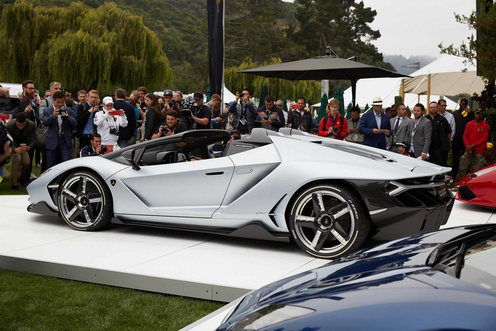 Lamborghini debuted the Roadster version of the Centenario supercar at the Quail gathering in Carmel, Calif., earlier this month. Source: Bloomberg