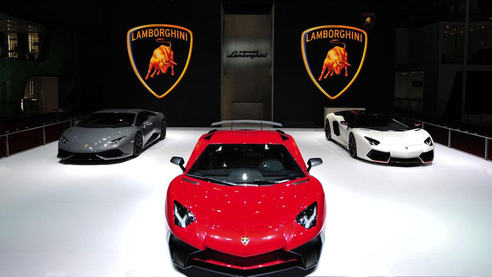 Lamborghini presented the new Aventador LP 750-4 Superveloce at the 2015 Auto Show in Shanghai. Source: Lamborghini via Bloomberg