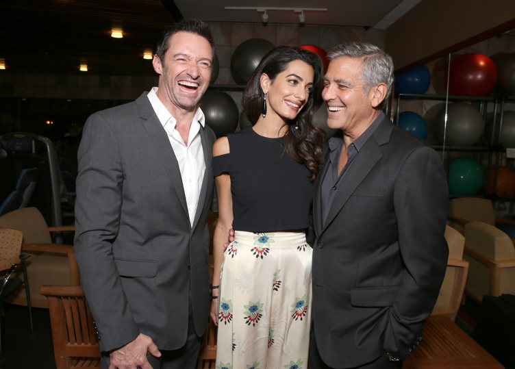 "Actor Hugh Jackman, lawyer Amal Clooney and host George Clooney attend the MPTF 95th anniversary celebration with ""Hollywood's Night Under The Stars"" at MPTF Wasserman Campus; Photo Credit: Todd Williamson/Getty Images for MPTF"