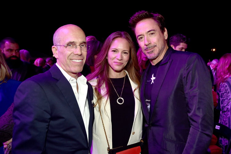 Producer Jeffrey Katzenberg, producer Susan Downey, and actor Robert Downey Jr.; Photo Credit: Alberto E. Rodriguez/Getty Images for MPTF