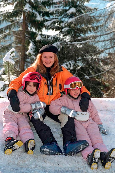 Princess Eugenie, the Duchess of York and Princess Beatrice in Verbier   Getty Images
