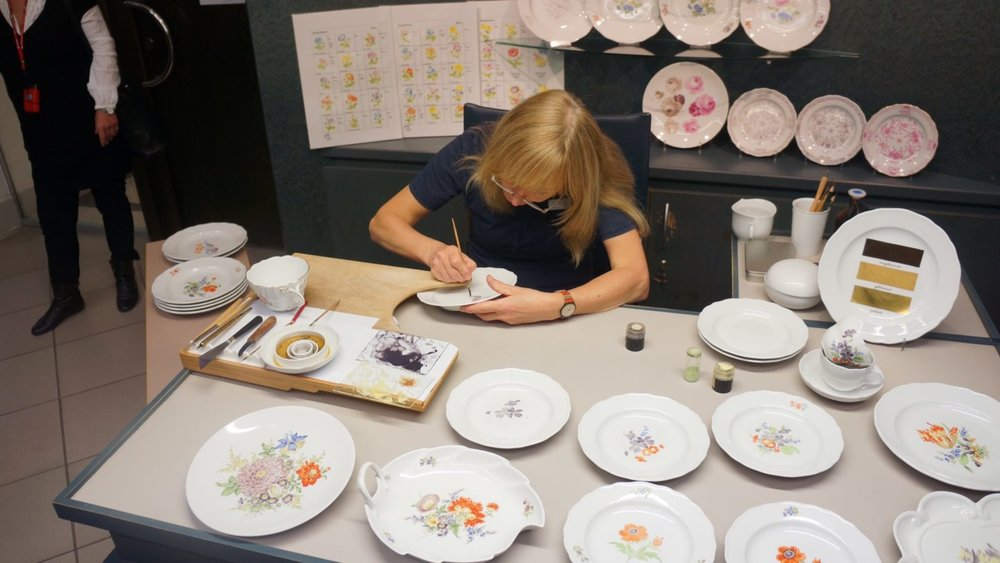 Painting Meissen Porcelain Plates At The House Of Meissen