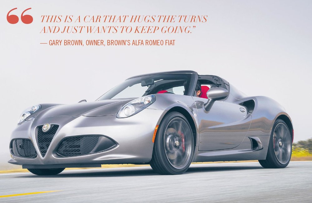 Precise steering, taut suspension and huge brakes make 4Cs at home on both street and track . Photo credit: Alfa Romeo.