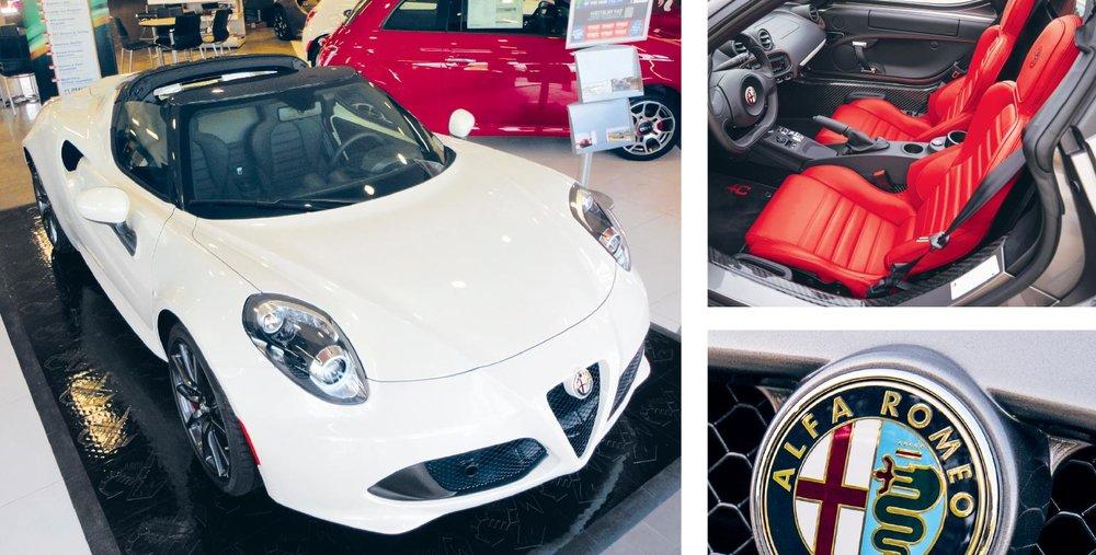 Above: A 4C Spider takes center stage at Alfa Romeo Fiat of Westbury. Photo credit: David Fluhrer. Top right: Alfa Romeo's new Giulia Quadrifoglio sedan boasts 505 horsepower.Right: Alfa Romeo's Giulia sport sedan is designed to be a BMW-killer. Photo credits: Alfa Romeo.