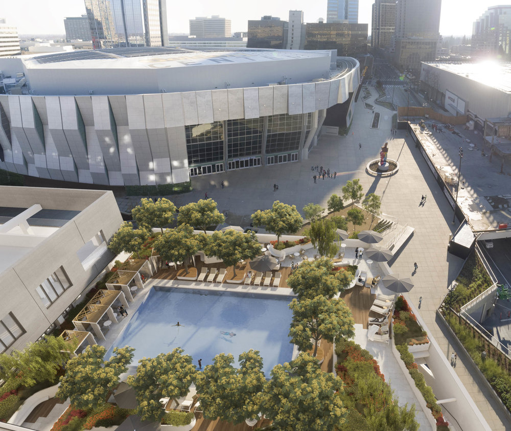 A rendering of the Sawyer's pool area, which overlooks Sacramento's Downtown Commons. Source: Visualhouse