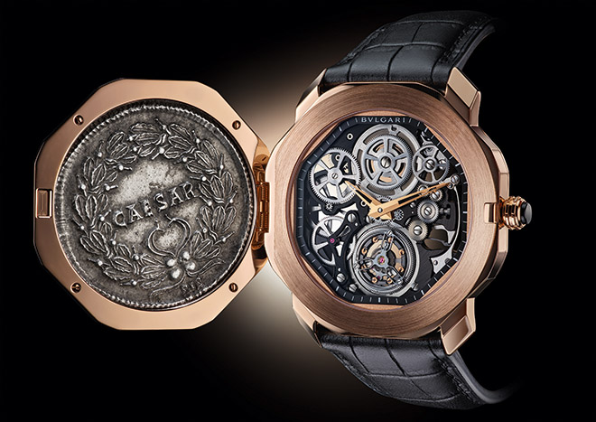 An ancient Roman coin bearing the visage of Constantine the Great covers the intricate mechanisms of Bulgari's contemporary fine watchmaking – here the Octo Finissimo Skeleton Flying Tourbillon
