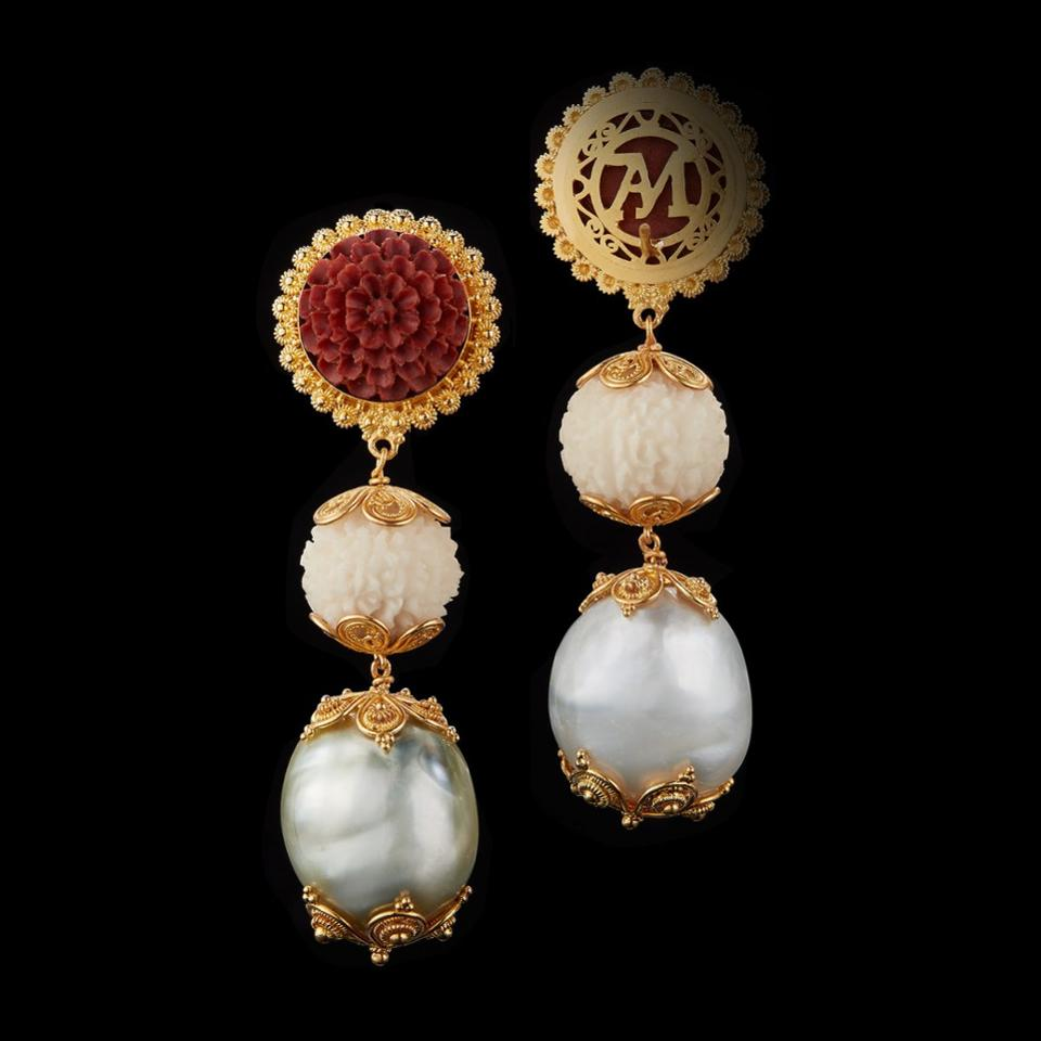 Carved tagua, baroque pearls and carved wooden lotus earrings