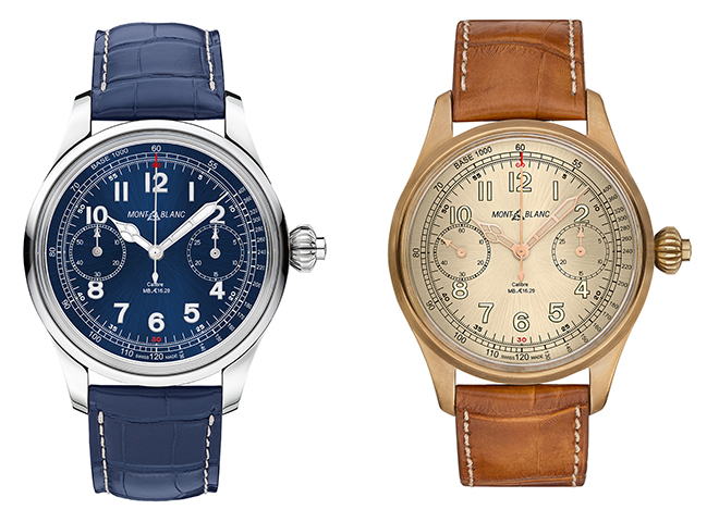 Left: An earlier Montblanc 1858 Chronograph Tachymeter Limited Edition in steel. Right: Its successor, 1858 Chronograph Limited Edition in Bronze