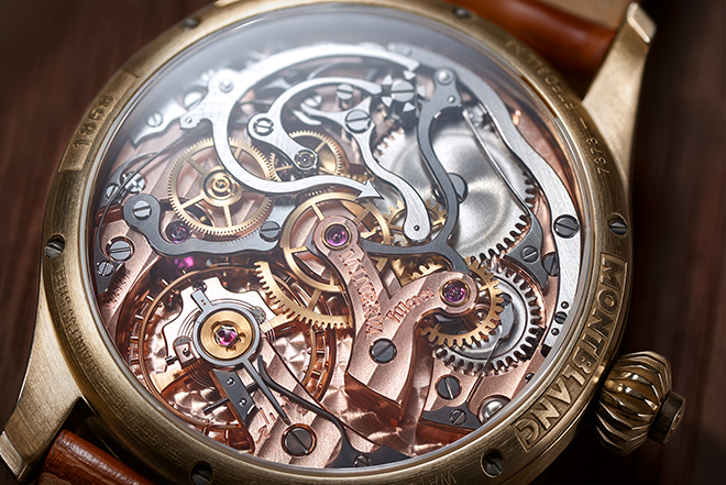 The Montblanc MB M16.29 calibre here features impeccable hand finishing on every single component and there is much to see thanks to the chronograph's horizontal clutch layout
