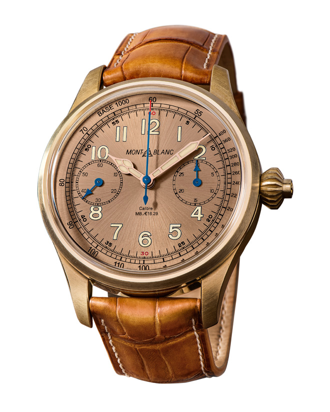 The limited edition Montblanc 1858 Chronograph Tachymeter is inspired by the original Minerva calibre 17.29 in the 1930s