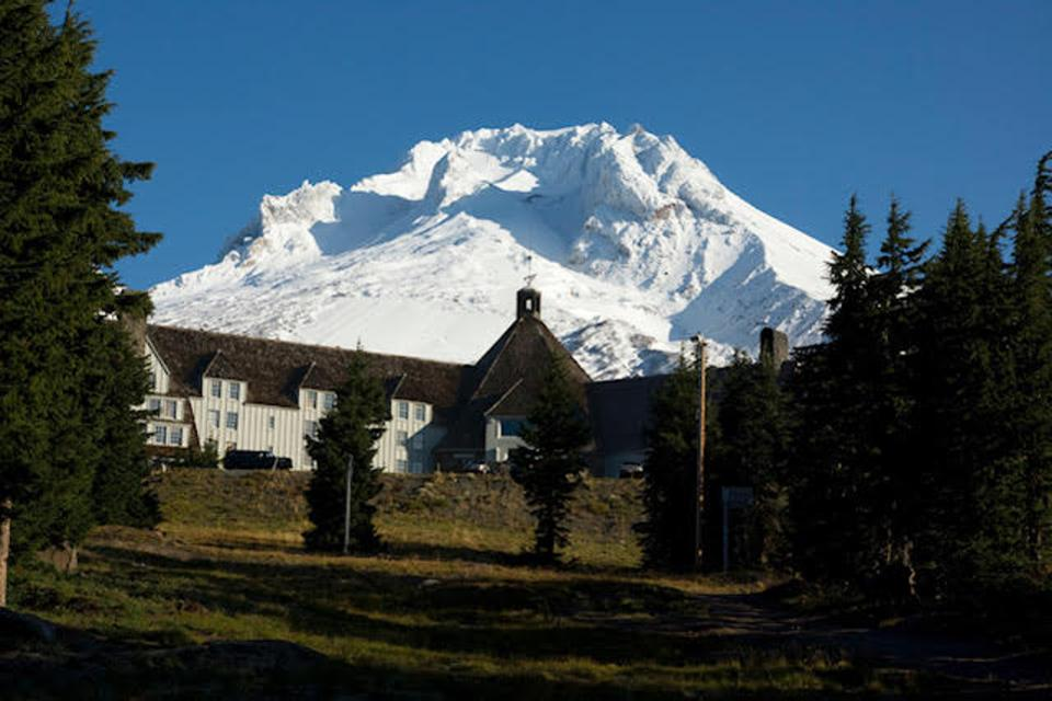 "Booking.com, Timberline Lodge View in the Summer. The lodge was used for the exterior shots of the 1980 film ""The Shining."""