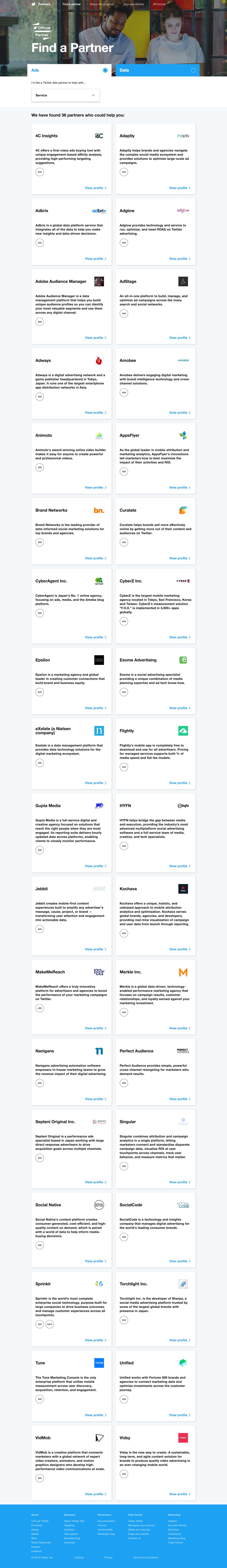 Copy of Twitter Official Partner: Find a Partner