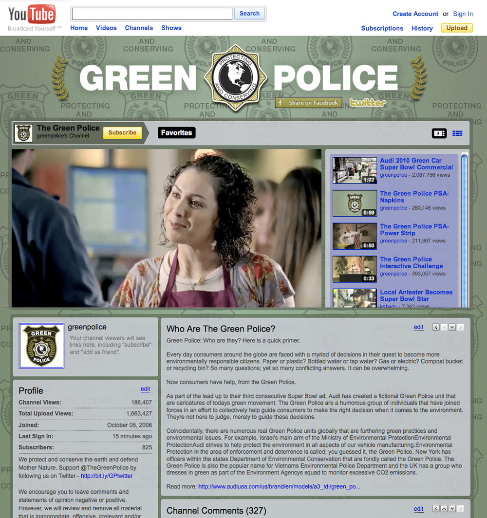 Final version of Green Police Youtube channel. Posted right after spot aired in the 4th quarter.